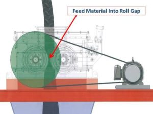 Image of where material should be fed into roll crusher